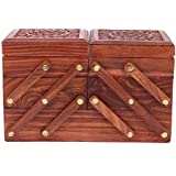 Crafts Haveli Shringar Box Carved With Brass Work Wooden 3 Stories Foldable Jewellery Box