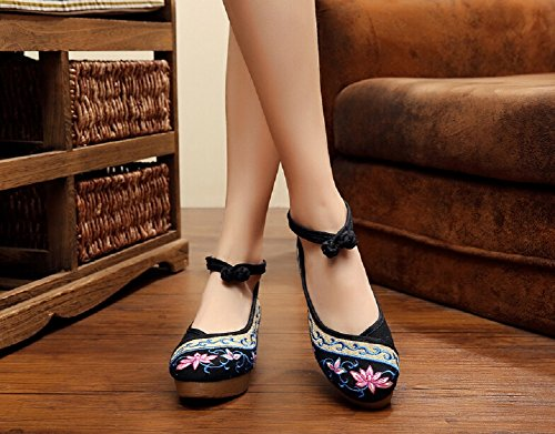 lazutom Vintage stile cinese ricamo da donna, confortevole Casual Scarpe Da Trekking Black
