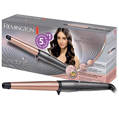 Remington Keratin Protect CI83V6 - Rizador de pelo, Pinza Cerámica con Keratina y Aceite de Almendras, Digital, Negro y Rosa