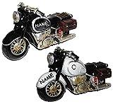 Spardose Motorrad / Oldtimer - schwarz oder grau - incl. Name - Fahrschule - Geld Sparschwein / Fahrzeuge - lustig witzig - stabile Sparbüchse aus Kunstharz - Bike / Biker / Fahrzeug Old Style