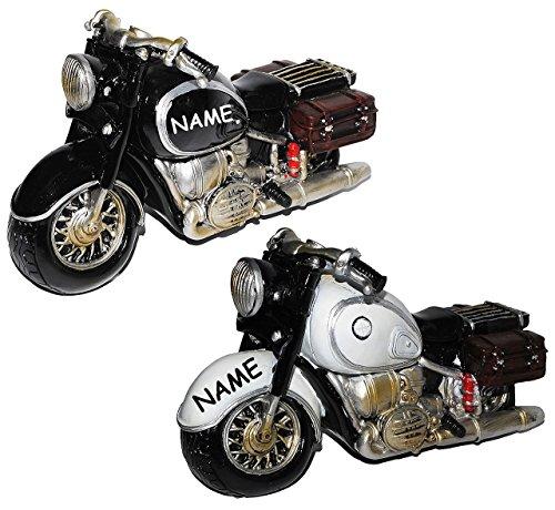 Unbekannt Spardose Motorrad / Oldtimer - schwarz oder grau - incl. Name - Fahrschule - Geld Sparschwein / Fahrzeuge - lustig witzig - Reisekasse / Motorradrundfahrt / M..