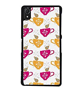 Fuson Coffee Cups Designer Back Case Cover for Sony Xperia Z3 :: Sony Xperia Z3 Dual D6603 :: Sony Xperia Z3 D6633 (Ethnic Pattern Patterns Floral Decorative Abstact Love Lovely Beauty)