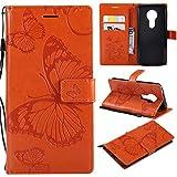 Hozor Motorola Moto E5 Handyhülle, Retro Großer Schmetterling Muster PU Kunstleder Ledercase Brieftasche Kartenfächer Schutzhülle mit Standfunktion Magnetverschluss Flip Cover Tasche, Orange