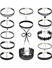 Faburo 13 piezas chockeres collares de gargantilla con los estilos diferentes para las mujeres y chicas