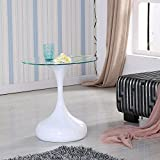 UEnjoy Clear Glass Hour Side End Lamp White Coffee Table - White