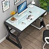 YQ WHJB Verre Bureau D'ordinateur,Grande Simple Table Informatique,métal 100% Cadre Bureau Étude Écriture Pc Portable Workstation L'assemblÉe-d 50x30x75cm(20x12x30inch)