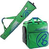 Brubaker Kombi Set Champion - Limited Edition - Skisack und Skischuhtasche für 1 Paar Ski bis 170 cm + Stöcke + Schuhe + Helm Grün Blau