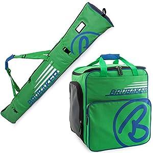 Brubaker Kombi Set Champion – Limited Edition – Skisack und Skischuhtasche für 1 Paar Ski 170 cm oder 190 cm + Stöcke + Schuhe + Helm Grün Blau