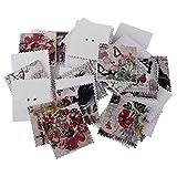 Sharplace 100 Stück Quadratische Vintage Briefmarken Form Bastelknöpfe Holzknöpfe Für