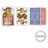 SKAT, 100% Plastic, französisches Bild Modiano, blau/rot, Plastik (Rückseite/Verpackung)