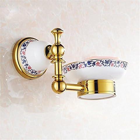 Modylee Parete in ottone dorato sapone piatti bagno accessori in ceramica portasapone , 1