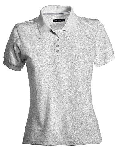 Damen Polohemd Venice Baumwolle kurzarm 4 Knöpfe Nackenband, Farbe:greymelange;Größe:L