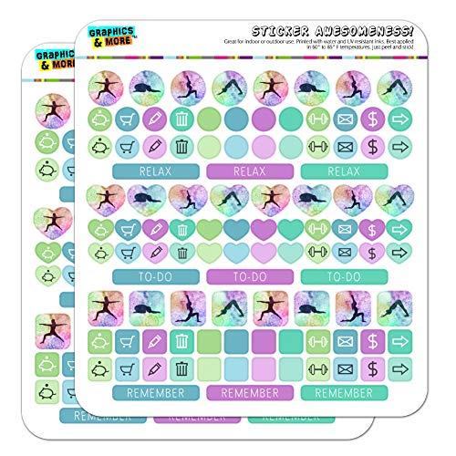 Yoga Poses Planer Kalender Scrapbooking Crafting Sticker Set opak