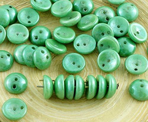 30pcs italienischen Grünen Glanz Piggy-Perlen Tschechische Glas 2 Zwei-Loch-Perlen 4mm x 8mm -