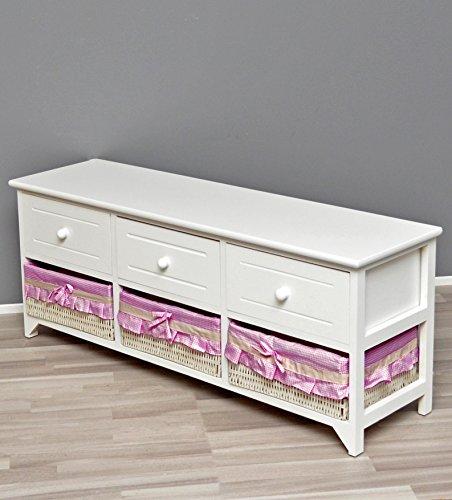 #ts-ideen Landhaus Kommode Schrank weiß Sideboard mit 3 Schubladen und 3 Körben Bezug in Pink NEU#