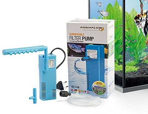 Aquaflow Technology® AIF-111M - Unterwasser-Aquariumsfilterpumpe für Frisch- und Salzwasser. Für Aquariumbehälter bis zu 40 Liter. 200 l/h 2W