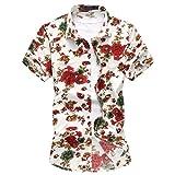 Mens Hawaiian Shirt Funky Short Sleeves Casual Flower Pattern Holiday Beach Shirts