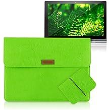 kwmobile Carcasa protectora para Lenovo Yoga Tablet 2 Pro 13 (1380) hace del artículo sentía con 3 bolsillos en verde