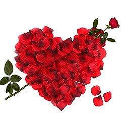 Idea Regalo - 3000pcs Petali di Rosa, Petali di Rosa Rossa in Seta per Decorazione di Matrimonio, Decorazioni di San Valentino, Proposta di Matrimonio