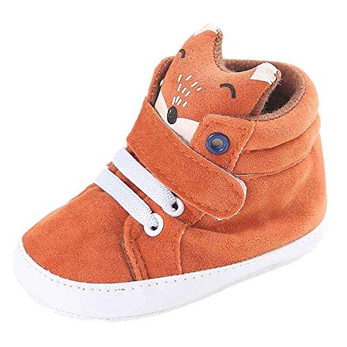 FNKDOR Baby Mädchen Jungen Fuchs Lauflernschuhe Rutschfest Canvas Schuhe Stiefel (6-12 Monate, Orange) (Schuhe Canvas Orange)
