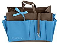 Insert Purse Bag Organizer Handbag - Handbag Organiser - XL Brown/Blue - Width 10.2