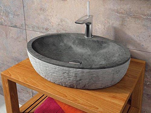 Bathco – Lavabo Bathco Sobre Encimera Piedra Santorini 55 Negro 550X400X120