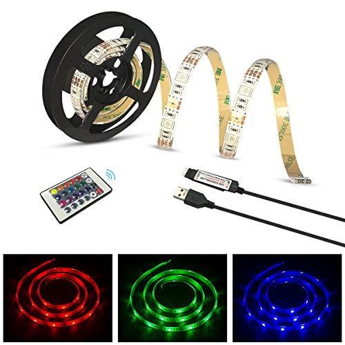 Yasolote, Wasserdicht LED Streifen, 30 LED 1M 5050 RGB Flexible Farbwechsel und Dimmer LED Strip, LED Lichtband mit 24 Tasten IR Fernbedienung, Deko LED Band für HDTV, Fernseher und Desktop-PC, Flüssigkristallanzeige, Zimmerbeleuchtung