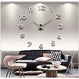 Ularma Acrílico espejo reloj de decoración creativa de bricolaje auto adhesivo pared Interior (plata)