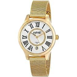 August Steiner Damen-Armbanduhr goldfarbene Edelstahl mit Diamant Marker