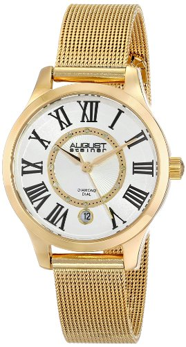 August Steiner Women's AS8094YG Gold-Tone Stainless Steel Watch with Diamond Markers