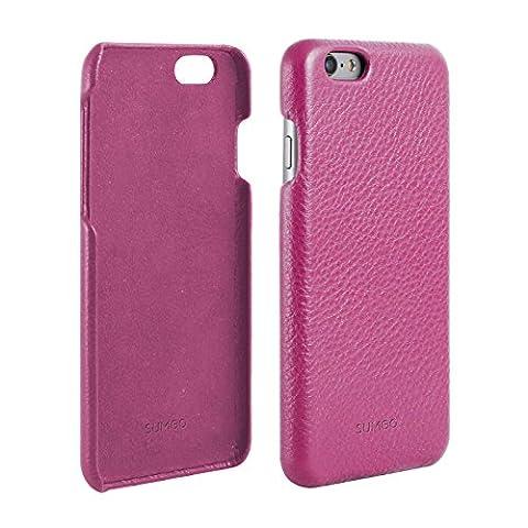 Original SUMGO echt Leder iPhone 6 Plus Schutzhülle Hülle Hard Cover Back Case Tasche - in Pink