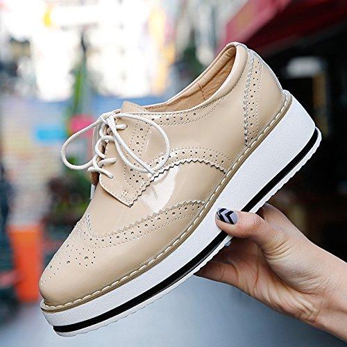 Vinstoken Zapatos de Cordones Vestir Brogue Para Mujer Talón Plataforma 4.5 CM Negro Blanco Albaricoque 38 1BedDkN8D