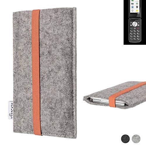 flat.design Handy Hülle Coimbra für Emporia TOUCHsmart - Schutz Case Tasche Filz Made in Germany hellgrau orange