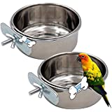 The DDS Store Bird Feeding Dish Cups, Parrot Food Bowl Clamp Holder - Stainless Steel Coop Cup, Bird Cage Water Bowl for Para