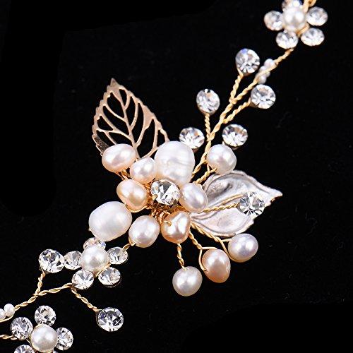 Haarschmuck von Oshide Blättern und Blumen Weiß Perlengirlande mit Strass Braut Braut Haarschmuck - 5