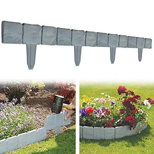 10 Stück Grau Rasen Rand Pflanze Bordering Zaun Garten Border DIY Dekorative Blumenbeet Border Ziegel Effekt Garten Rand - 10 Stück