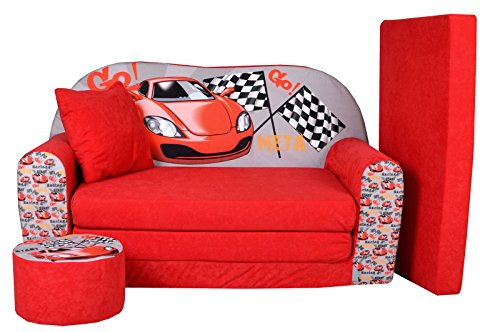 FORTISLINE Kindersofa Kindercouch Aufklappen Bettfunktion + Hocker W319 Viele Muster (Racing Car)