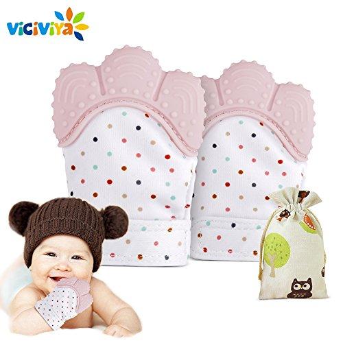 Baby Zahn Handschuh Silikon Beißring BPA FREI Fäustlinge mit Tasche - Lindern Zahnungsschmerz für 3-18 Monate Kinder - Schützt Babys Hände von Salvia - 2 Stk. (Pink)