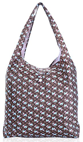 Big Handbag Shop pieghevole riutilizzabile Eco pianeta Friendly Compatto Shopping Bags Terrier Dogs - Brown