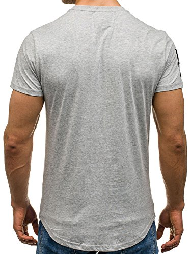BOLF Herren T-Shirt Tee Kurzarm Rundhals Slim Fit Aufdruck Basic Classic Party 3C3 Motiv Grau
