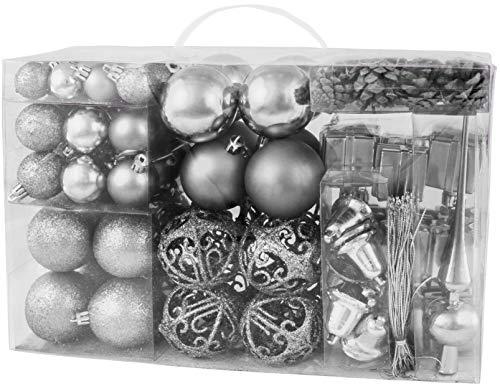 Brubaker set di 101 accessori decorativi per l'albero di natale - addobbi natalizie in color argento - diverse forme di palline ed un puntale per albero di natale