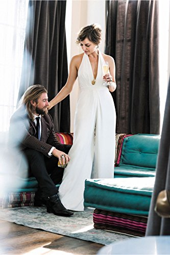 Combinaison Femme IHRKleid® Elegant Mode Jumpsuit Profondeur V Ensemble Blanc