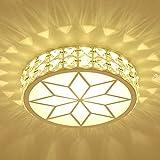Outgeek LED Ceiling Light Round Square Shape Crystal Decor 220V Flush Mount Lamp
