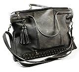 Designer Handtasche mit Nieten by Sassyclassy | trendy Damen Umhängetasche in Grau | große Messenger Bag mit Quasten-Anhänger & Reißverschluss | Tasche mit Absteppungen aus PU-Leder