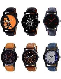 NEUTRON Contemporary 3D Design Hanuman Ganpati Black Blue And Brown Color 6 Watch Combo (B26-B27-B28-B29-B30-B40...