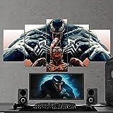 Venom Spiderman Toile Murale avec 5 Panneaux Art, Venom Multi Panneaux, Venom Art Mural, Tableaux pour Gaming, Décoration Murale Venom Poster Venom Cadeau Venom Prêt à accrocher Large 59'x32'