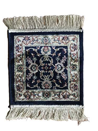 Sobel Klassischer Teppich 35 x 35 cm Briefmarken quadratisch mit Fransen 35 x 35 cm blau -