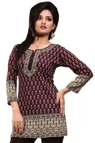 India Tuniche Kurti Top Camicetta Delle Donne Abbigliamento (Marrone, XXL)