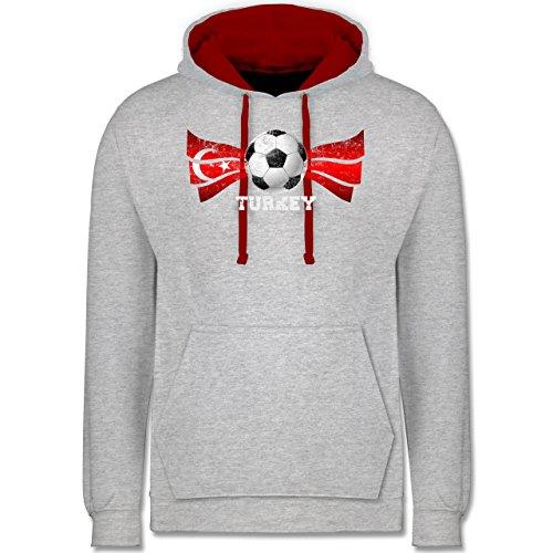 Fußball - Turkey Fußball Vintage - Kontrast Hoodie Grau Meliert/Rot