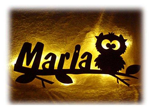 Schlummerlicht24 Led Nachtlicht Wand Lampe Eulen Zauber Eule Geschenke mit Namen Babyzimmer Baby Erstausstattung Wickelzimmer Kinderzimmer Eulenmotiv (Nachtlicht Wand)